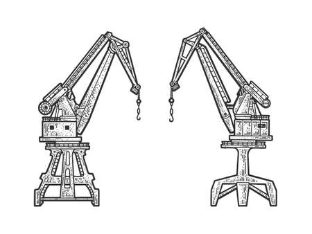 harbor crane sketch engraving vector illustration. T-shirt apparel print design. Scratch board imitation. Black and white hand drawn image.