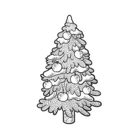 spruce Christmas tree with apples sketch engraving vector illustration. T-shirt apparel print design. Scratch board imitation. Black and white hand drawn image.