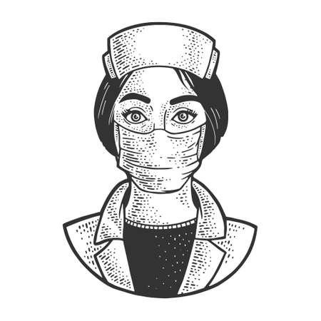 nurse woman sketch engraving vector illustration. T-shirt apparel print design. Scratch board imitation. Black and white hand drawn image. 向量圖像