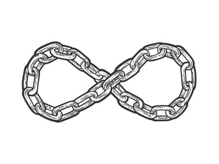 Chain in form of infinity sign sketch engraving vector illustration. T-shirt apparel print design. Scratch board imitation. Black and white hand drawn image.