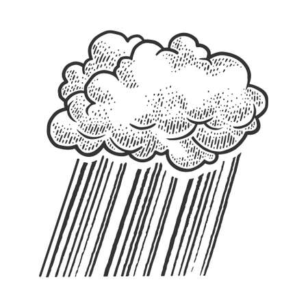 Cloud rain sketch engraving vector illustration. T-shirt apparel print design. Scratch board imitation. Black and white hand drawn image.