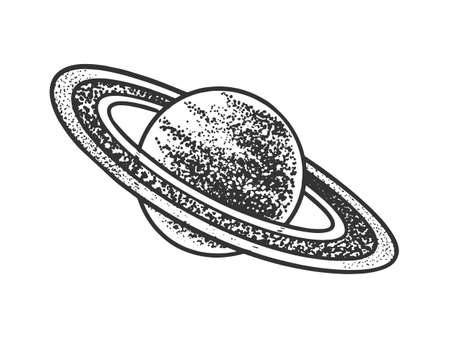 Saturn planet sketch engraving vector illustration. T-shirt apparel print design. Scratch board imitation. Black and white hand drawn image.