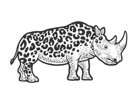fictional animal rhinoceros leopard sketch engraving vector illustration. T-shirt apparel print design. Scratch board imitation. Black and white hand drawn image. 向量圖像