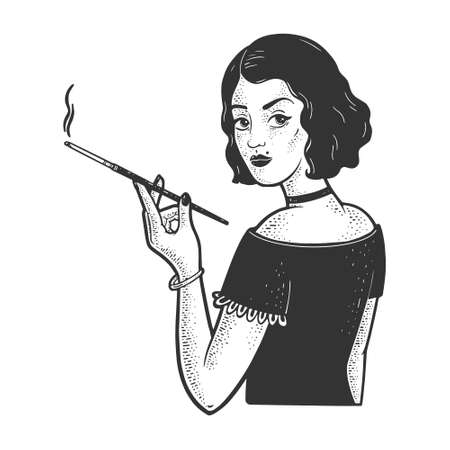 girl with mouthpiece cigarette holder and cigarette sketch engraving vector illustration. T-shirt apparel print design. Scratch board imitation. Black and white hand drawn image. 向量圖像