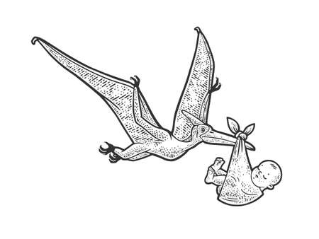 pterodactyl carries newborn baby sketch engraving vector illustration. T-shirt apparel print design. Scratch board imitation. Black and white hand drawn image.