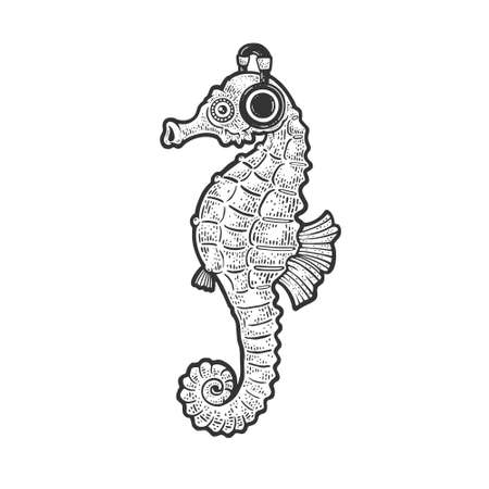 Seahorse with headphones sketch engraving vector illustration. T-shirt apparel print design. Scratch board imitation. Black and white hand drawn image. 向量圖像