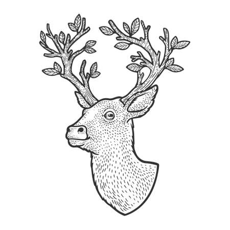 deer with tree horns antlers sketch engraving vector illustration. T-shirt apparel print design. Scratch board imitation. Black and white hand drawn image.