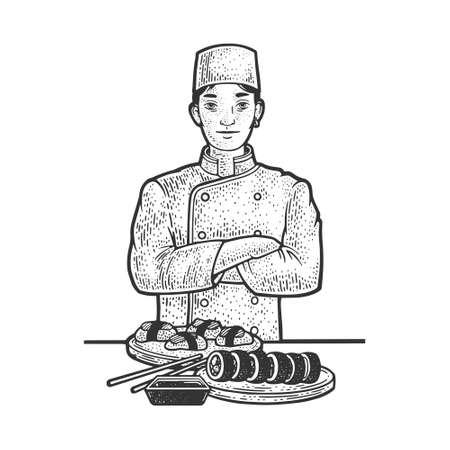 sushi chef sketch engraving vector illustration. T-shirt apparel print design. Scratch board imitation. Black and white hand drawn image.