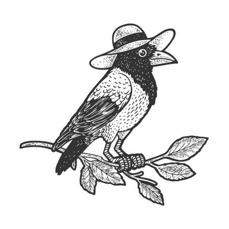 crow in hat sketch engraving vector illustration. T-shirt apparel print design. Scratch board imitation. Black and white hand drawn image.