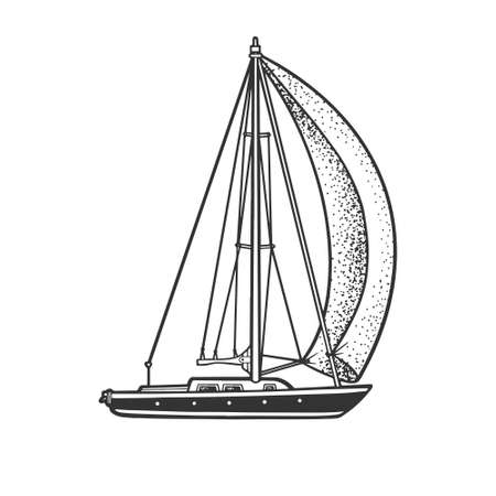 single sail yacht boat sketch engraving vector illustration. T-shirt apparel print design. Scratch board imitation. Black and white hand drawn image.