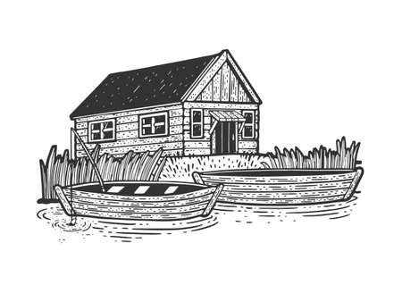 fishing lodge with boats sketch engraving vector illustration. T-shirt apparel print design. Scratch board imitation. Black and white hand drawn image.