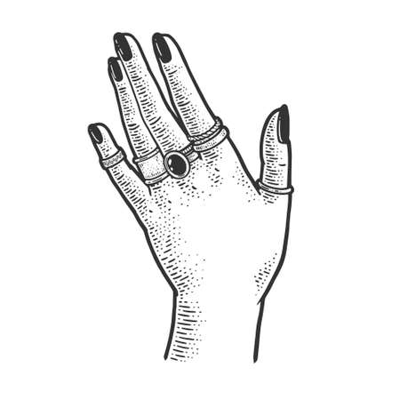 female hand with precious rings sketch engraving vector illustration. T-shirt apparel print design. Scratch board imitation. Black and white hand drawn image.