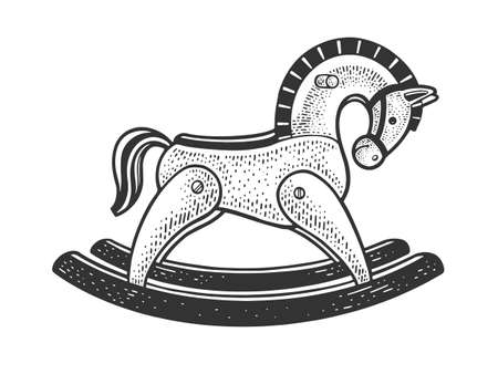 toy rocking horse sketch engraving vector illustration. T-shirt apparel print design. Scratch board imitation. Black and white hand drawn image.