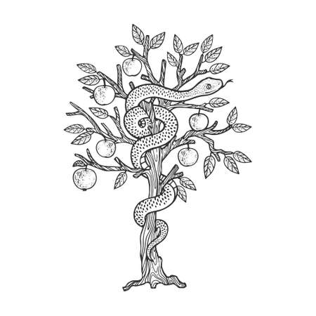 biblical serpent snake on apple tree sketch engraving vector illustration. T-shirt apparel print design. Scratch board imitation. Black and white hand drawn image.