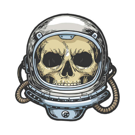 Human skull astronaut helmet sketch engraving color vector illustration. Scratch board style imitation. Hand drawn image.