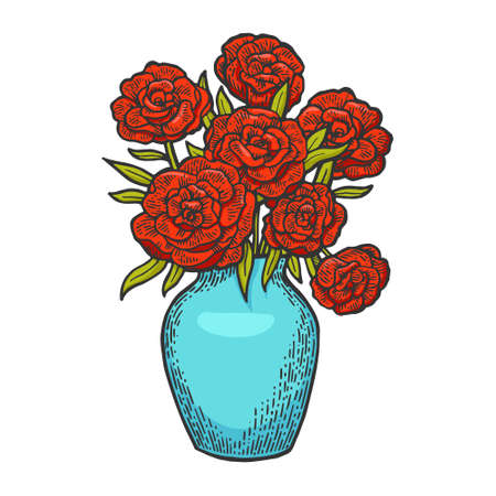 Flowers in vase engraving color vector illustration. Scratch board style imitation. Black and white hand drawn image.