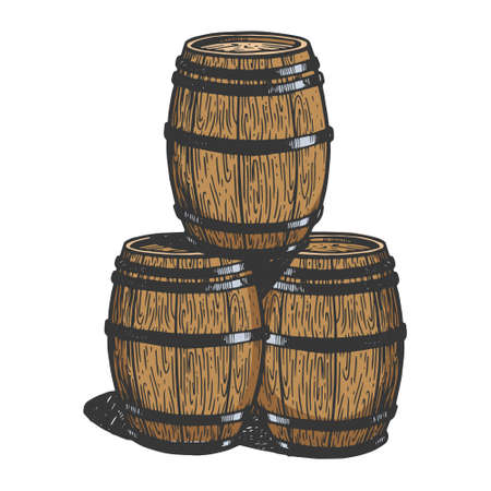 Wine beer wooden barrels engraving color vector illustration. Scratch board style imitation. Black and white hand drawn image. 向量圖像