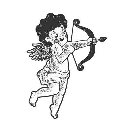 cupid with bow sketch engraving vector illustration. T-shirt apparel print design. Scratch board imitation. Black and white hand drawn image.