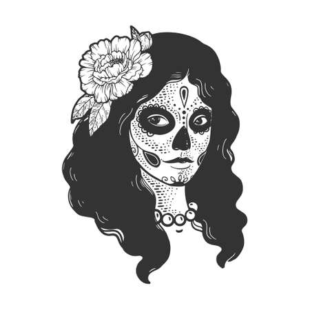 Mexican girl in day of the dead makeup sketch engraving vector illustration. T-shirt apparel print design. Scratch board imitation. Black and white hand drawn image.