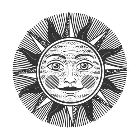 Sun witn face sketch engraving vector illustration. T-shirt apparel print design. Scratch board imitation. Black and white hand drawn image.