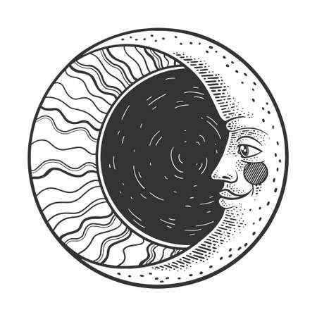 Moon witn face sketch engraving vector illustration. T-shirt apparel print design. Scratch board imitation. Black and white hand drawn image.