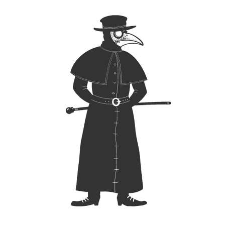 medieval plague doctor sketch engraving vector illustration. T-shirt apparel print design. Scratch board imitation. Black and white hand drawn image. 向量圖像