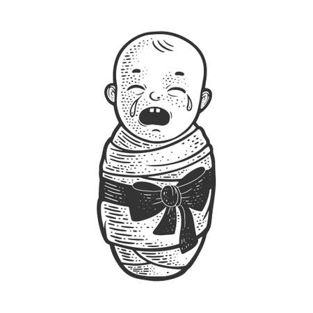 crying baby sketch engraving vector illustration. T-shirt apparel print design. Scratch board imitation. Black and white hand drawn image.