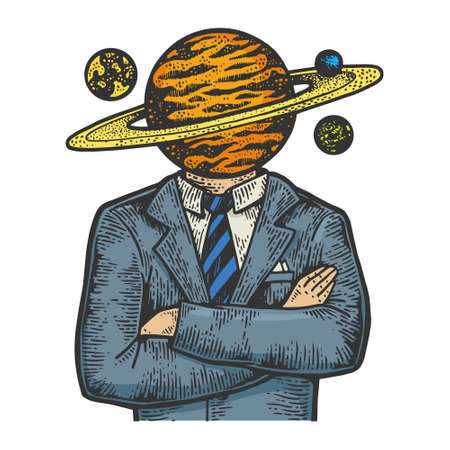 Saturn planet head businessman sketch color engraving vector illustration. T-shirt apparel print design. Scratch board imitation. Black and white hand drawn image.