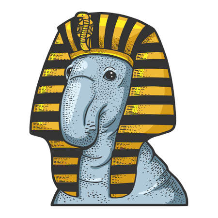 Elephant seal in headdress of egyptian pharaoh sketch color engraving vector illustration. T-shirt apparel print design. Scratch board imitation. Black and white hand drawn image.
