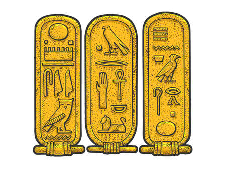 Ancient Egyptian Cartouche sketch color engraving vector illustration. T-shirt apparel print design. Scratch board imitation. Black and white hand drawn image.