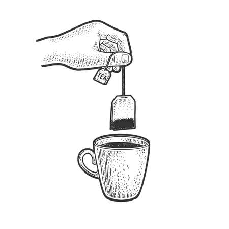 hand brews tea bag in cup sketch engraving vector illustration. T-shirt apparel print design. Scratch board imitation. Black and white hand drawn image.