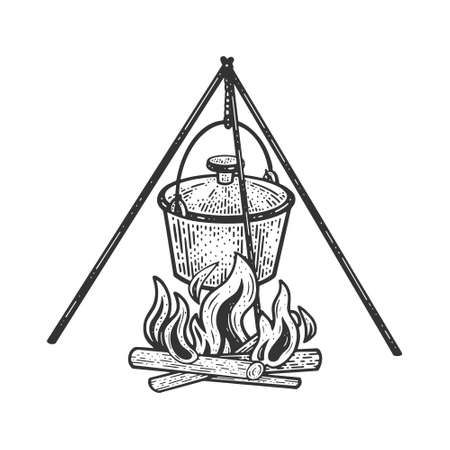 cauldron pot on fire sketch engraving vector illustration. T-shirt apparel print design. Scratch board imitation. Black and white hand drawn image.