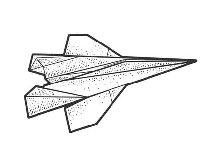 origami paper plane sketch engraving vector illustration. T-shirt apparel print design. Scratch board imitation. Black and white hand drawn image. 向量圖像