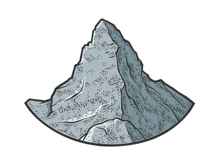 Matterhorn mountain of the Alps sketch color engraving vector illustration. T-shirt apparel print design. Scratch board imitation. Black and white hand drawn image.
