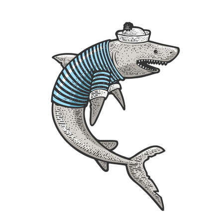 Cartoon shark sailor sketch color engraving vector illustration. T-shirt apparel print design. Scratch board imitation. Black and white hand drawn image. 向量圖像