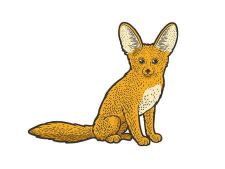 Fennec fox desert animal color sketch engraving vector illustration. T-shirt apparel print design. Scratch board imitation. Black and white hand drawn image. Illusztráció