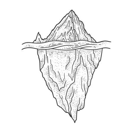 Iceberg sketch engraving vector illustration. T-shirt apparel print design. Scratch board imitation. Black and white hand drawn image.