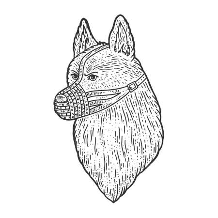 muzzled dog shepherd sketch engraving vector illustration. T-shirt apparel print design. Scratch board imitation. Black and white hand drawn image.