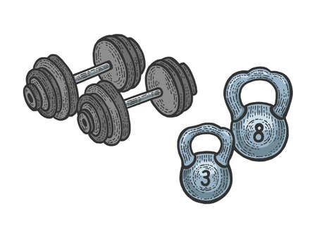 Sport equipment barbell and weights dumbbell color sketch engraving vector illustration. Scratch board style imitation. Black and white hand drawn image.