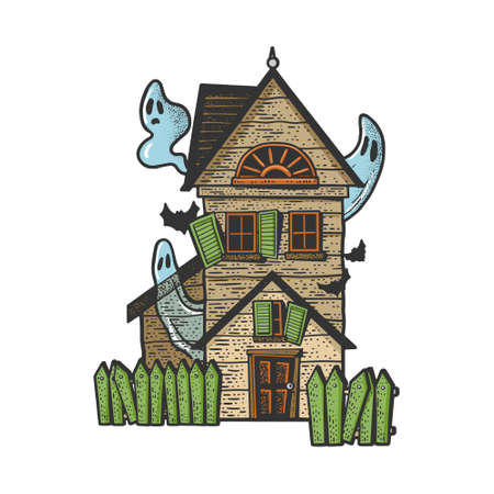 haunted witch house with ghost color sketch engraving vector illustration. T-shirt apparel print design. Scratch board imitation. Black and white hand drawn image.