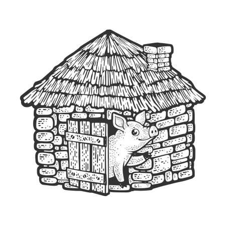 pig in brick house made of stone sketch engraving vector illustration. T-shirt apparel print design. Scratch board imitation. Black and white hand drawn image. 向量圖像
