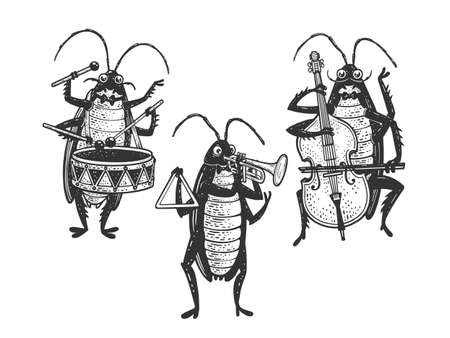 Cartoon cockroach orchestra playing the trumpet double bass drum sketch engraving vector illustration. T-shirt apparel print design. Scratch board imitation. Black and white hand drawn image.