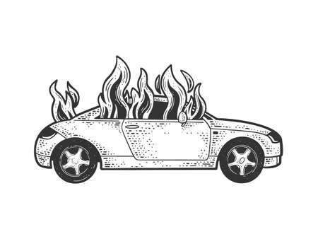 car on fire sketch engraving vector illustration. T-shirt apparel print design. Scratch board imitation. Black and white hand drawn image.
