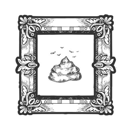 Poop shit in picture frame as a masterpiece in an art gallery sketch engraving vector illustration. Overvalued art metaphor. T-shirt apparel print design. Scratch board imitation.