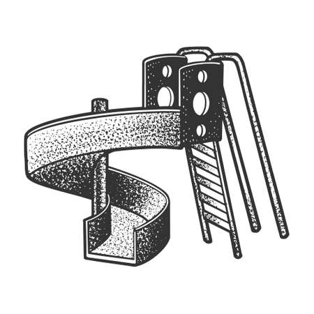 Playground slide sketch engraving vector illustration. T-shirt apparel print design. Scratch board imitation. Black and white hand drawn image.
