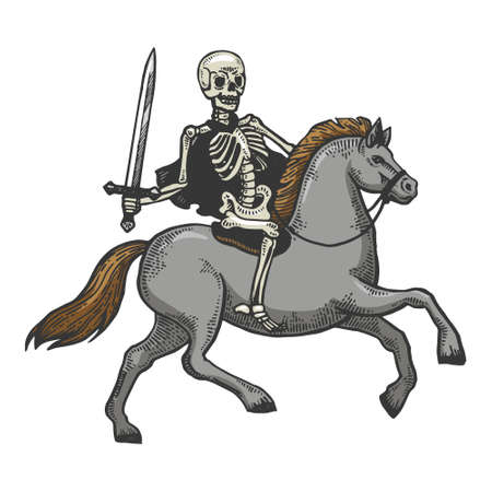 Skeleton warrior with sword ride horse sketch engraving vector illustration. T-shirt apparel print design. Scratch board imitation. Black and white hand drawn image.