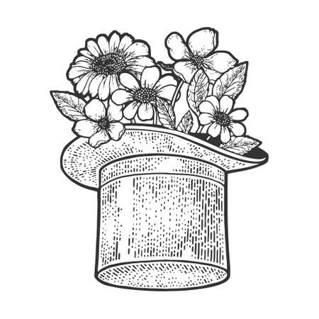 Flowers in Top hat cylinder sketch engraving vector illustration. T-shirt apparel print design. Scratch board imitation. Black and white hand drawn image.