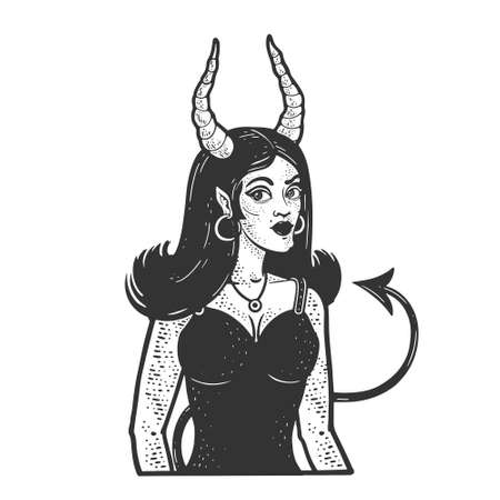 Devil girl sketch engraving vector illustration. T-shirt apparel print design. Scratch board imitation. Black and white hand drawn image.