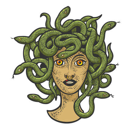 Medusa Gorgo head with snakes color sketch engraving vector illustration. T-shirt apparel print design. Scratch board imitation. Black and white hand drawn image. 向量圖像