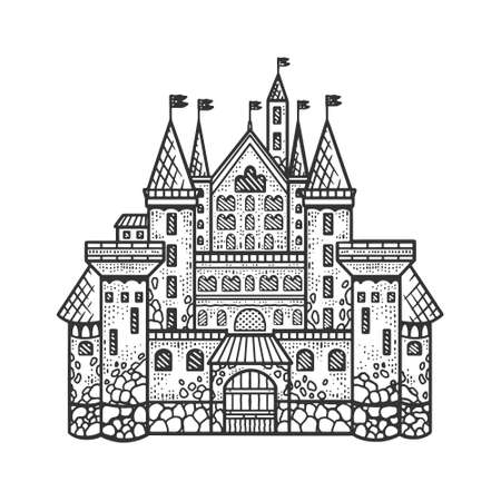 medieval castle sketch engraving vector illustration. T-shirt apparel print design. Scratch board imitation. Black and white hand drawn image.